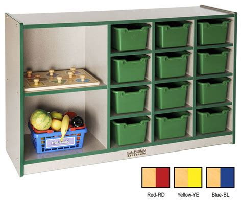 ecr4kids toys 2 large shelf 12 storage tray cabinet