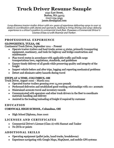 Truck Drivers Resume by Great Truck Driver Resume Sles Pictures Truck Driving