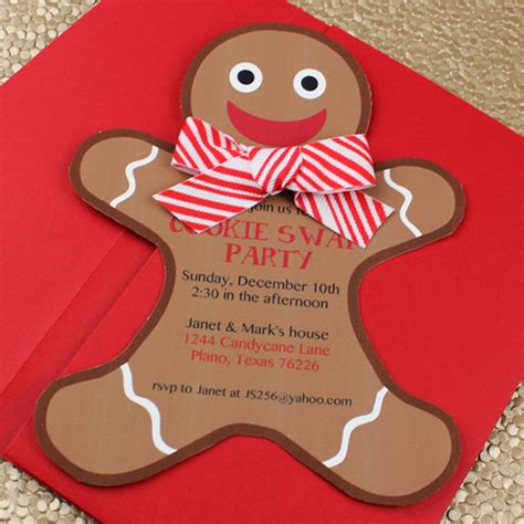 gingerbread man holiday cookie party invitation template