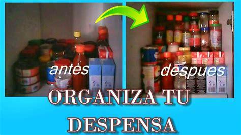 una despensa que es como hacer un organizador para la despensa de tu cocina