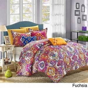 Blue, Yellow, Pink, Global, Paisley, 8, Pc, Comforter, Set, Twin