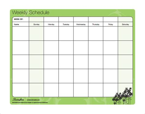weekly schedule template pdf family schedule template schedule template free