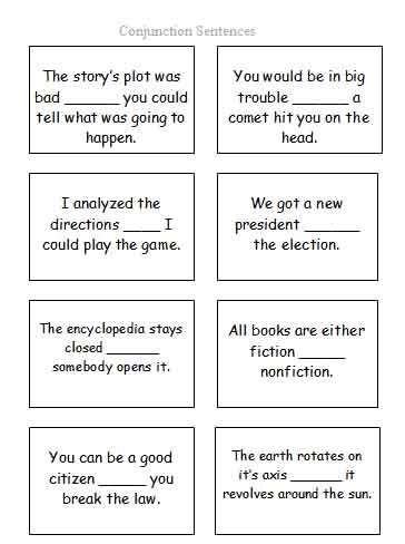 conjunction sentence cards free language stuff