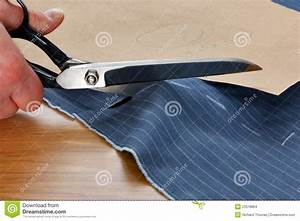 Cutting, Fabric, For, A, Suit, Stock, Photo, Image, Of, Scissors