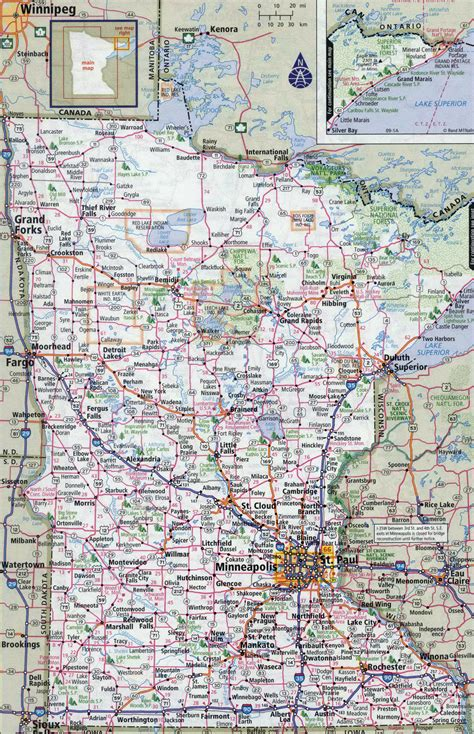Large detailed roads and highways map of Minnesota state ...