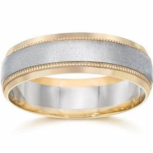 Mens White Yellow Gold Two Tone Wedding Ring Band 14K