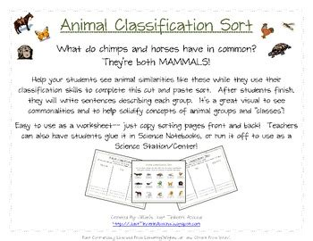 Animal Classification Sort 6 Different Groups by Just