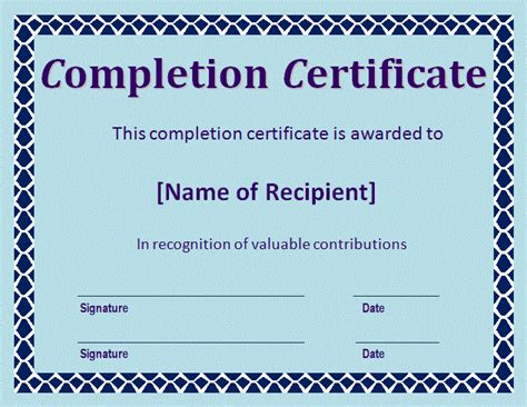 certificate  completion template  word templates