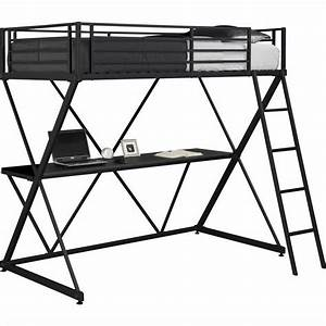 X Shaped Metal Twin Loft Bed in Black with Desk - 5440096