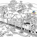 Coloring Thomas Engine Train Pages Tank Diesel Printable Steam Drawing Railway Station Salty Dockyard Children Traveling sketch template