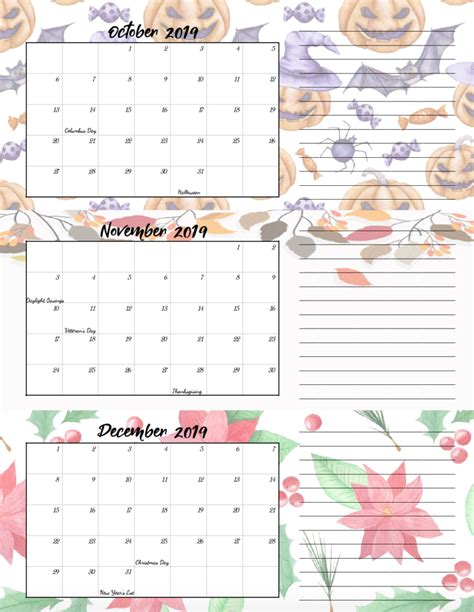 printable  quarterly calendars  holidays