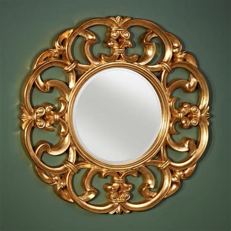 2 mirror goldtone decor mirror black gold miroir small glass plastic home office. Garland Gold Decorative Round Framed Wall Mirror by ...