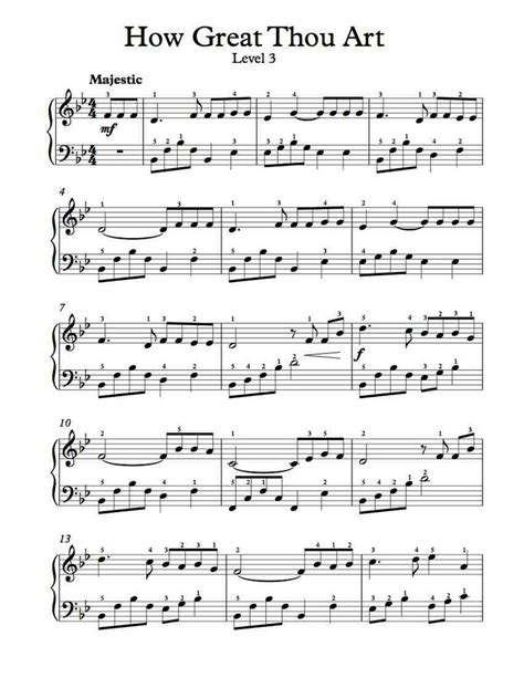 free piano arrangement sheet music how great thou art level 3 music pinterest free