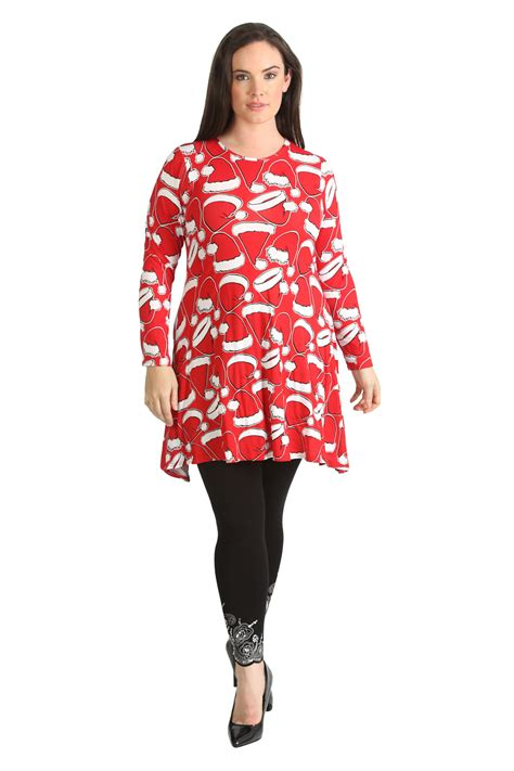 womens dress ladies plus size santa christmas hat print