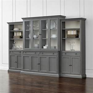 Cameo 4 piece modular grey glass door wall unit with for Kitchen cabinets lowes with crate and barrel wall art sale