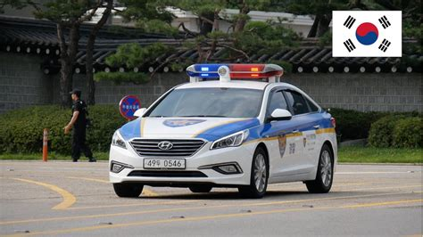 Seoul (south Korea) Police Car With Lights Guarding
