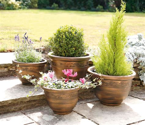 antique copper set of 4 resin plastic garden planters 2 large 2 small indoor outdoor use uk