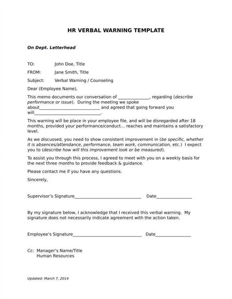 verbal warning follow  letter templates