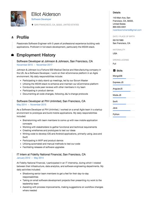 Software For Resume by Resume For It Developer