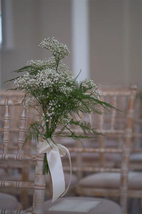 Wedding Ceremony Aisle Chairs Ribbon Tied Asparagus Fern