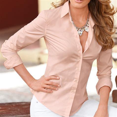 Womens Ladies Stylish Long Sleeve Lapel Shirt Ol Button