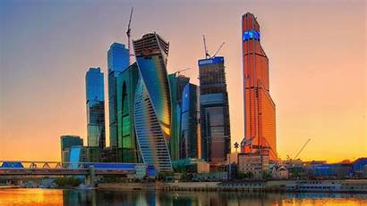 Moscow Construction Architecture Modern Skyscraper Russia Sunset