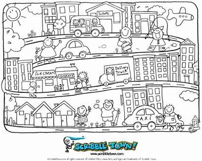 Coloring Town Pages Books Preschool Crayon Learning