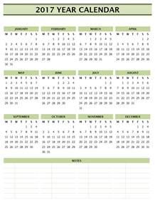 2017 Year Calendar Template Microsoft Word