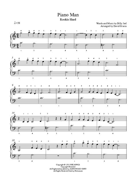 The blues is a uniquely american art form that got its start from the collision of african and european cultures in the. Piano Man by Billy Joel Piano Sheet Music   Rookie Level