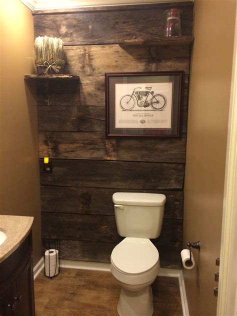bathroom ideas for walls powder room renovation with barn wood diy in 2019