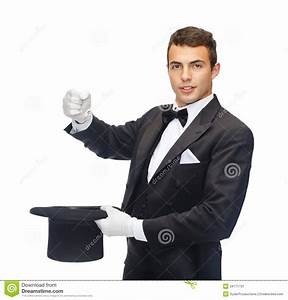 Magician In Top Hat Showing Trick Stock Image - Image ...