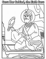 Guru Ji Gobind Colouring Sikh Sheets Har Gurbaani Tv sketch template