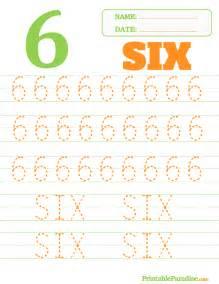 Printable Number 6 Tracing Worksheet