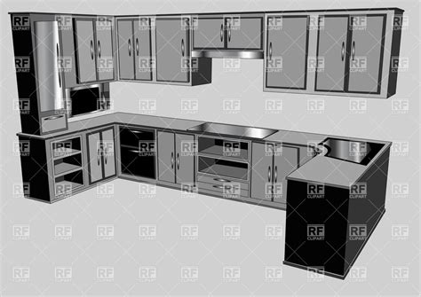 Kitchen Layout Vector by Kitchen Interior Furniture Design Vector Image Vector
