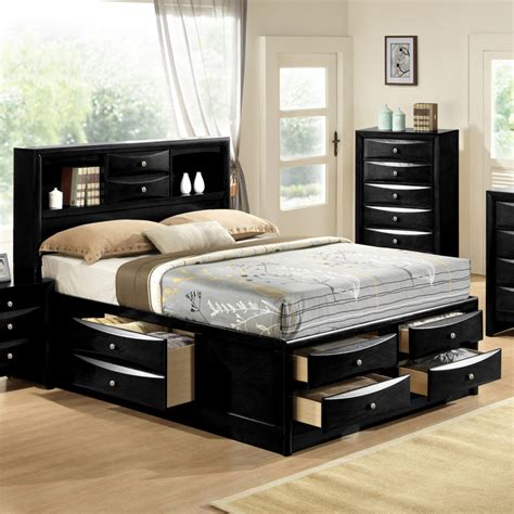black emily bookcase headboard queen king captains storage