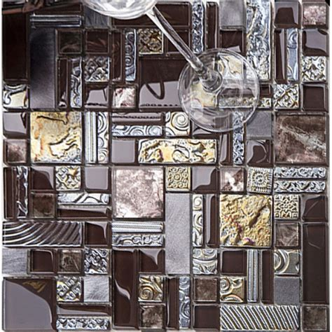 decorative wall tiles for kitchen backsplash brown mosaic tile glass tile 304 stainless steel 9559