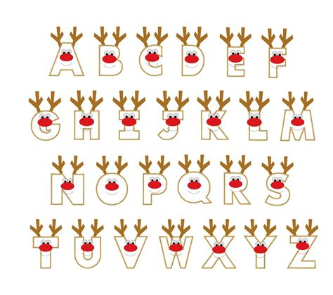christmas reindeer letters applique designs  etsy