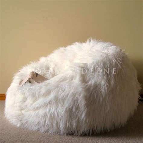 large lush soft shaggy fur bean bag cloud chair beanbag
