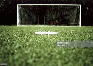 View Of A Goalpost On A Soccer Field At Night Stock Photo ...