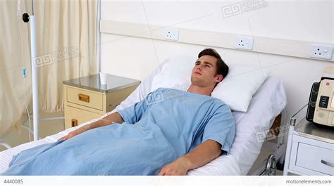 Sick Man Lying On Hospital Bed Stock Video Footage