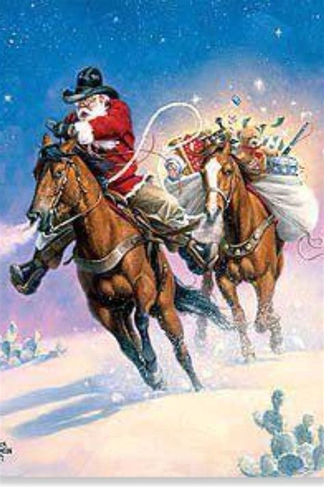 We even offer a whole line of patriotic christmas cards with american flags and western christmas cards with trucks, horses, and buggies. Cowboy Santa | Western christmas, Cowboy christmas