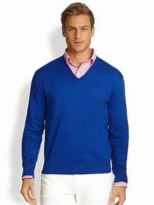 Polo V : polo ralph lauren cotton v neck sweater in blue for men lyst ~ Gottalentnigeria.com Avis de Voitures