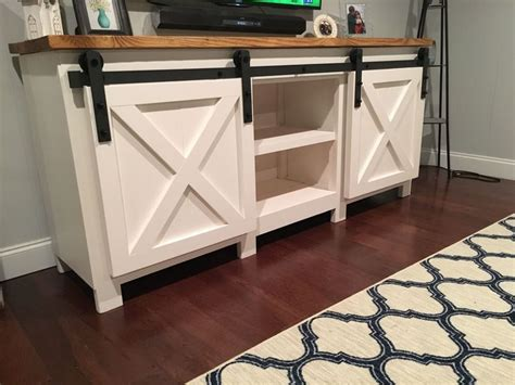 diy sliding barn door build a tv stand or media console with these free plans