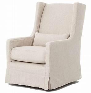 Wilshire modern classic slipcover cream linen swivel arm for Modern armchair covers