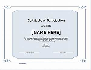 Certificate of participation blank for Free participation certificate templates for word
