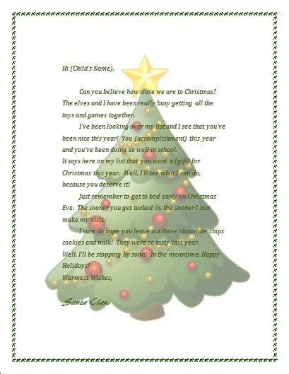 merry christmas letter template free letters from santa