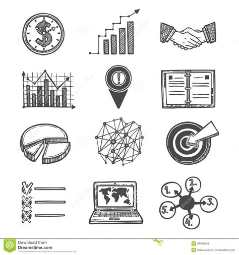 Sketch Strategy And Management Icons Stock Vector  Illustration Of Illustration, Isolated 41976948