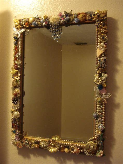 repurposed vintage jewelry framed mirror  sale