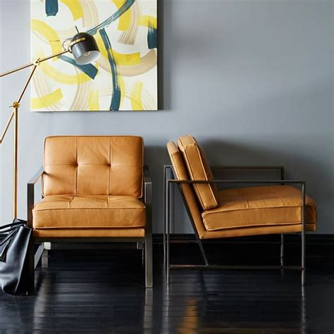 metal frame tufted leather chair west elm