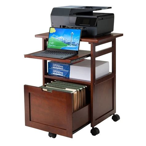 laptop desk with printer shelf office wood rolling cart computer printer stand file